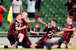 Georgie Kelly celebrates his second and Bohs third goal.