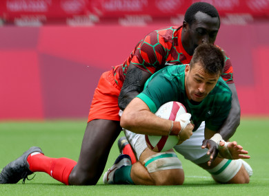 Harry McNulty scores for Ireland against Kenya.