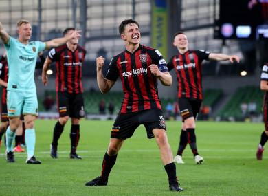 Bohs' Keith Buckley celebrates after the Stjarnan game.