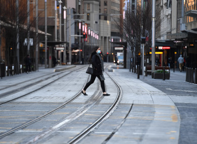 A near empty George Street is seen in the central business district in Sydney
