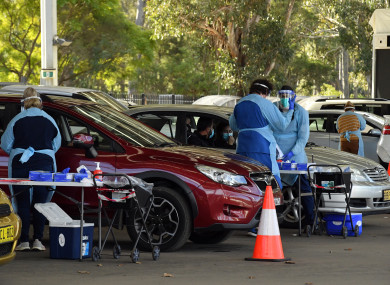 A pop-up Covid testing centre is seen in Sydney on Monday.