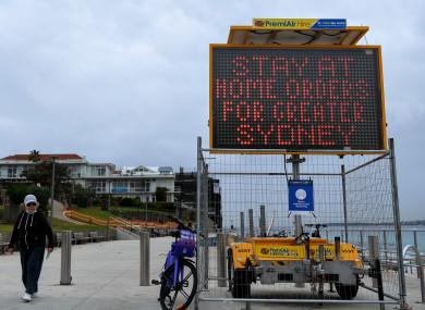 A stay at home public order warning at Bondi, Sydney