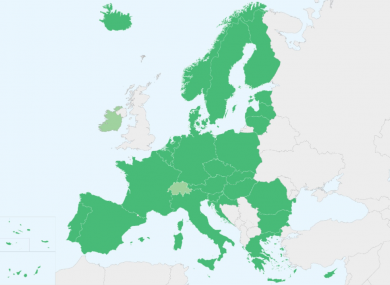 Ireland and non EU member Switzerland are technically ready but not signed up yet.