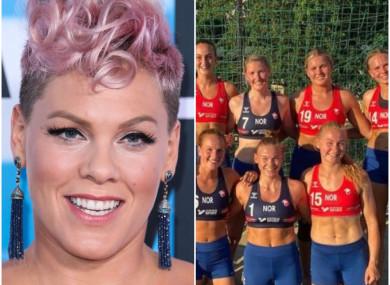 Pink (L), the Norwegian beach handball team (R).