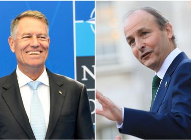 Romanian President Klaus Iohannis and Tasoieach Micheál Martin spoke via phone this morning.