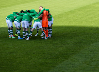 Rovers in a huddle prior to their Champions League qualifier against Slovan Bratislava.