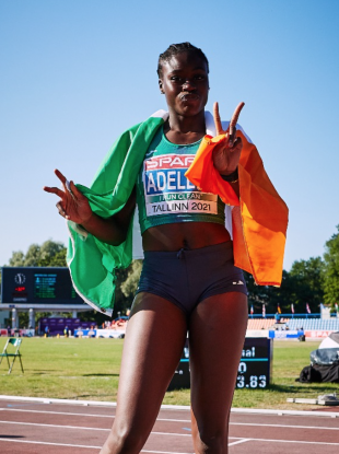 Rhasidat Adeleke after completing her sprint double.