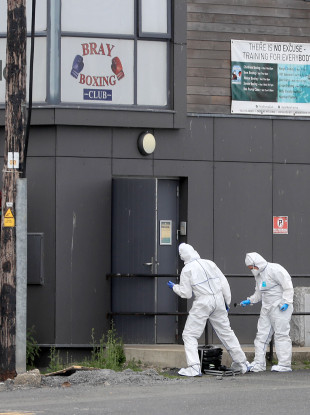 Forensic experts at the scene of a shooting incident at Bray Boxing Club in Co. Wicklow, 5 June 2018.