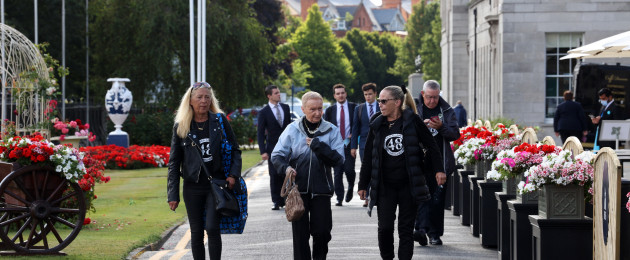 Families of the victims of the Stardust fire pictured before they attended their inquest at the RDS today.