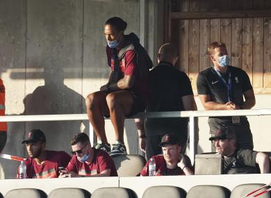 Virgil van Dijk watching a recent pre-season friendly against Mainz.