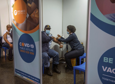 A policeman receiving his Johnson & Johnson Covid-19 vaccine in Soweto, South Africa.