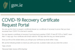The government's website to request a Covid-19 recovery certicate.