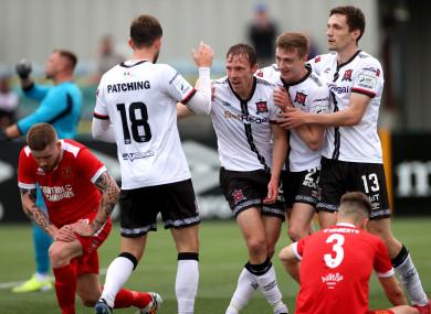 Dundalk's Will Patching, Daniel Kelly and Raivis Jurkovskis celebrate with goalscorer David McMillan.