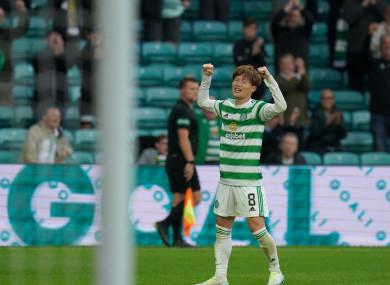 Kyogo Furuhashi celebrates a goal for Celtic.