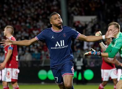 Kylian Mbappe celebrates a goal.