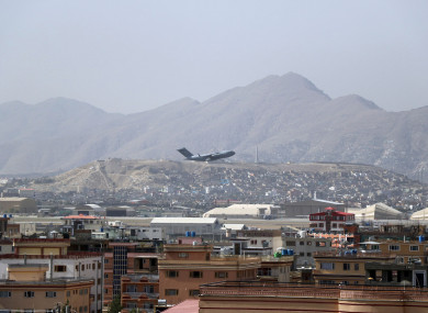 US military aircraft taking off at Kabul airport in Afghanistan at the weekend.