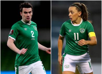 Ireland captains Seamus Coleman and Katie McCabe.