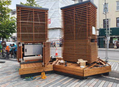 The CityTrees during installation