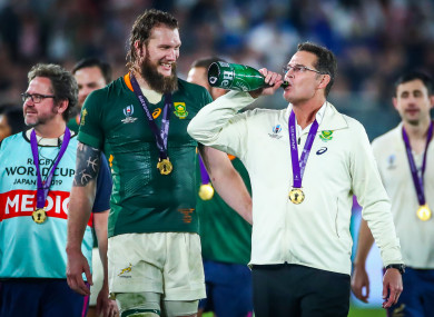 Snyman with Rassie Erasmus after the 2019 World Cup final.
