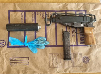 The suspected gun and drugs seized in Dublin yesterday.