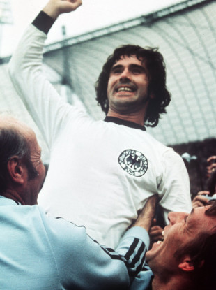 Gerd Müller celebrates after helping West Germany win the World Cup in 1974.