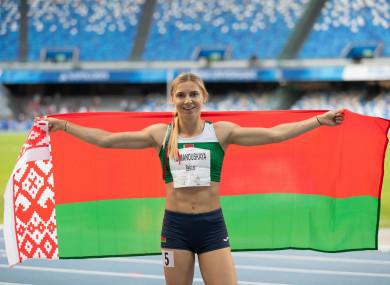 Tsimanouskaya pictured at the Napoli 2019 Summer Universiade.