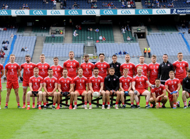 The Tyrone panel pictured ahead of their recent Ulster final victory over Monaghan at Croke Park.