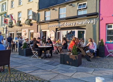 People enjoying the good weather in Clifden, Co Galway.