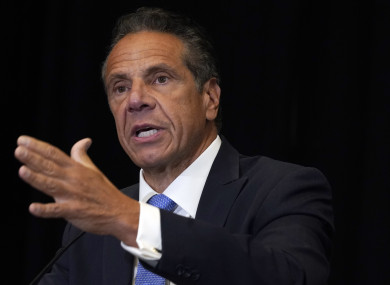 Andrew Cuomo speaks during a news conference.