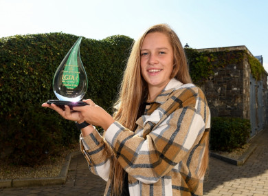 Clíodhna Ní Shé of Carlow is pictured with The Croke Park/LGFA Player of the Month award for August, at The Croke Park in Jones Road, Dublin.