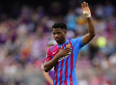 Ansu Fati salutes the Camp Nou.
