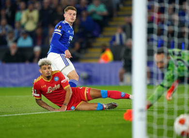 Harvey Barnes scored Leicester's second goal against Napoli, but the Foxes were pegged back to a 2-2 draw.