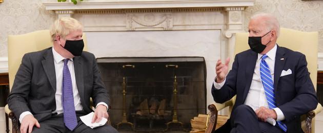 UK Prime Minister Boris Johnson (left) meets US President Joe Biden.
