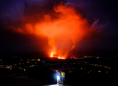 Lava spews from a volcano on the Canary island of La Palma, Spain.