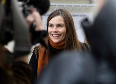 Iceland's prime minister Katrin Jakobsdottir speaking to the media.