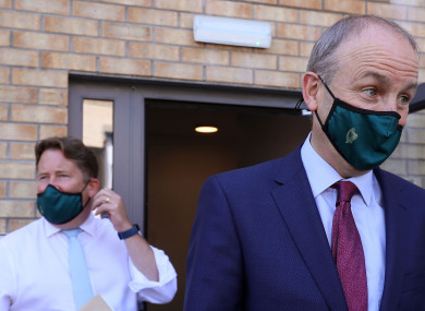 Taoiseach Micheal Martin (right) with Minister for Housing Darragh O'Brien (left)