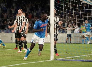 Kalidou Koulibaly of Napoli celebrates after scoring.