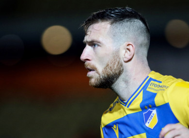 Jack Byrne, making a rare appearance for Apoel.