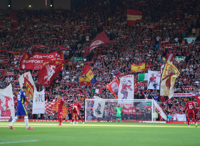Liverpool fans at Anfield.