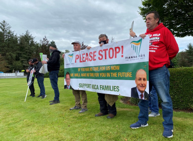 Protesters from Donegal gathering at the Fianna Fail think-in, in Cavan