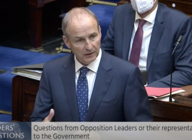 Taoiseach takes his first Leaders' Questions in the Dail today after more than a year of sittings being held in the Convention Centre.