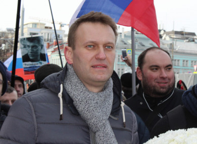 Opposition member Alexei Navalny participates in a demonstration in Moscow, Russia, 26 February 2017.