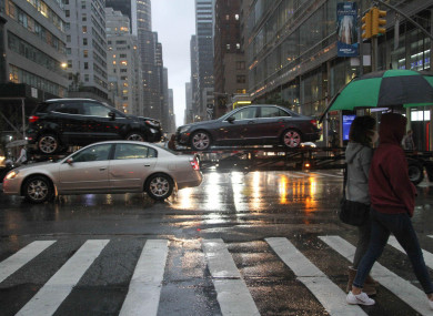 Heavy rainfall in New York City while a flash flood watch was in effect