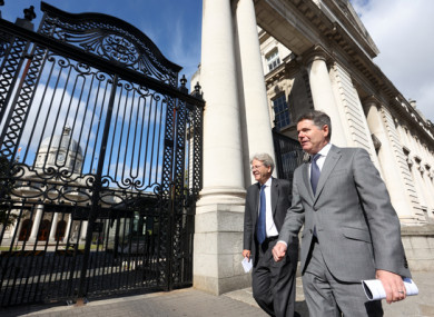 European Commissioner for the Economy Paolo Gentiloni and Finance Minister Paschal Donohoe in Dublin today.