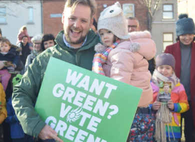 The Green Party's Patrick Costello and his daughter ahead of the 2020 general election.