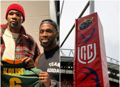 Siya Kolisi and NBA superstar Kevin Durant (L); a view of the URC logo at Thomond Park (R).