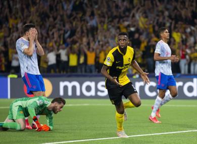 Jordan Siebatcheu celebrates his goal.