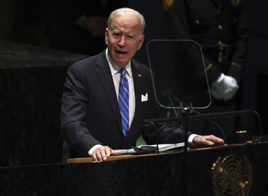 Joe Biden speaking at the UN headquarters in New York today.