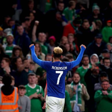 Ireland's Callum Robinson celebrates scoring against Qatar.