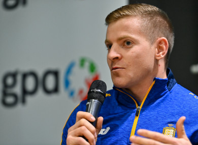 Podge Collins speaking at a GPA Media Conference at the Crowne Plaza Hotel in Santry.